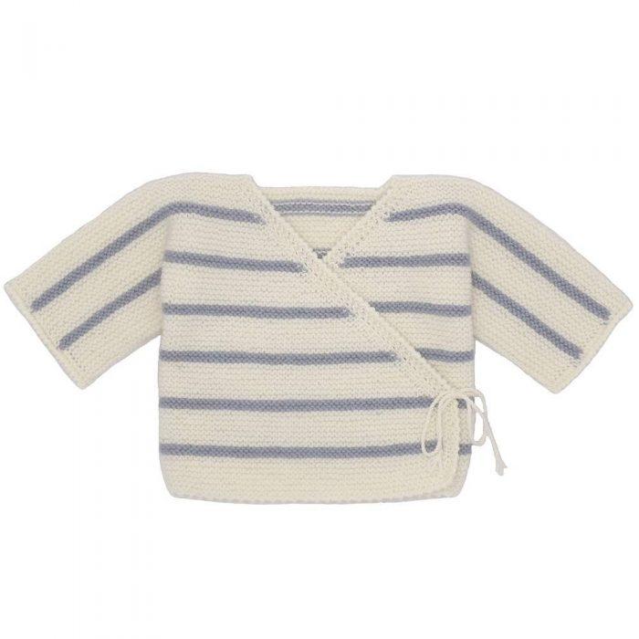 Brassière bébé en laine mérinos coloris rayé grise et écru confectionnée par la marque les Mamies Tricoteuses, le parfait cadeau de naissance