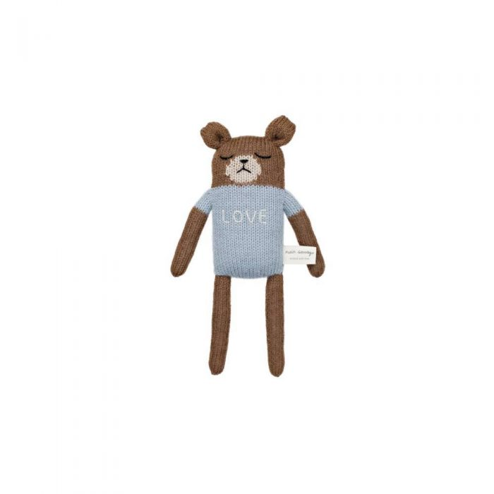 Doudou ours brun Main Sauvage en laine d'alpaga