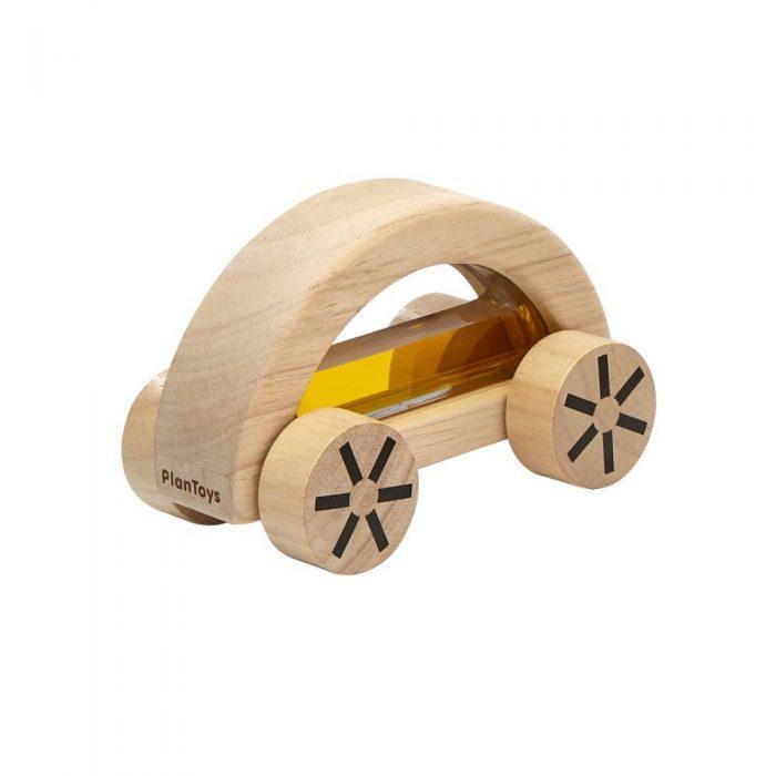 Voiture en bois avec à l'intérieur de l'au colorée jaune, jouet à partir de 18 mois