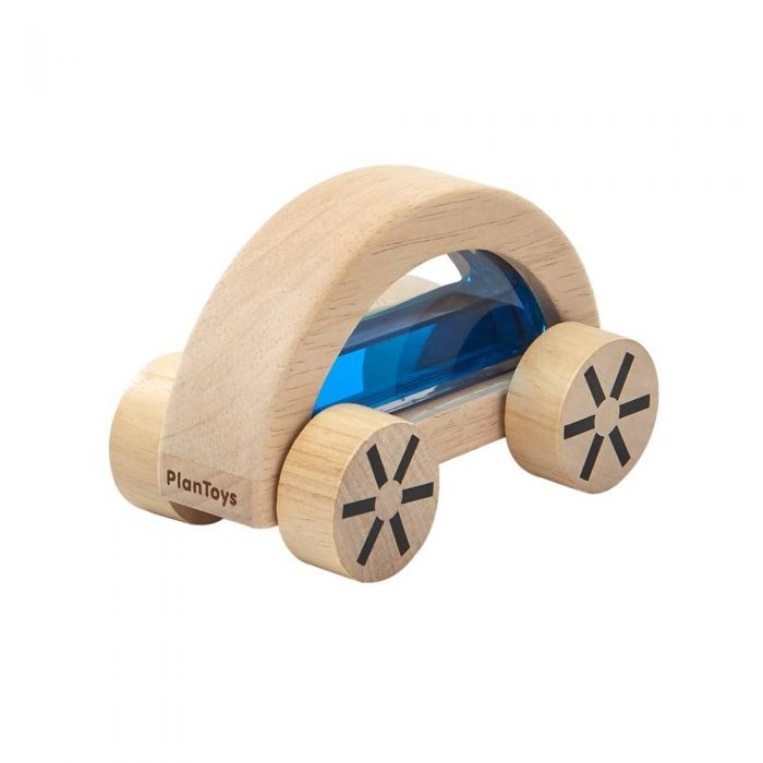 Voiture en bois avec eau colorée bleu de la marque Plan Toys