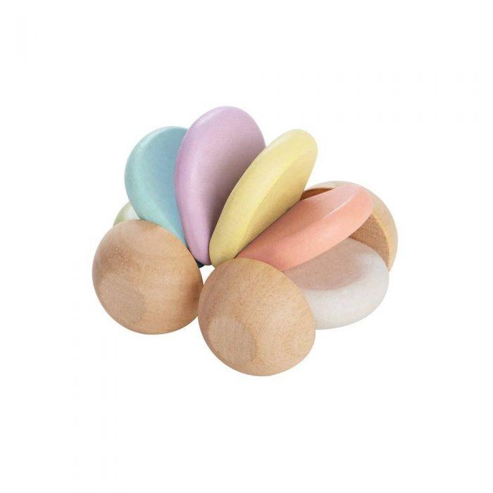 Voiture en bois couleurs pastel de la marque Plan Toys, jouet dès 6 mois.