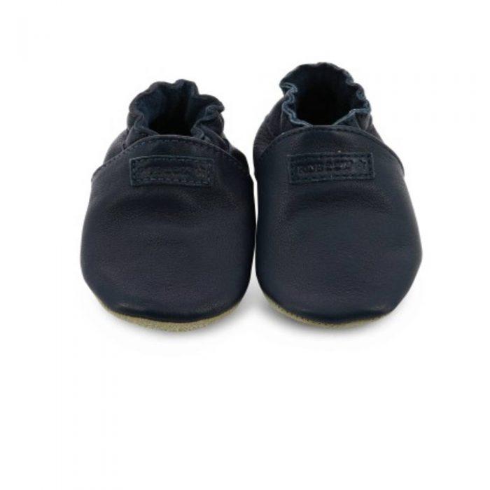 Chaussons bébé en cuir souple bleu marine