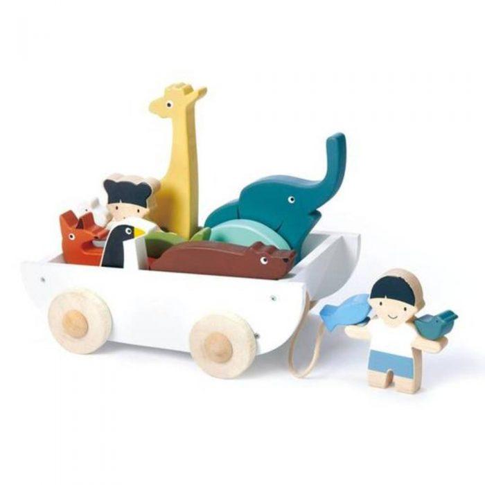 Bateau en bois pour enfant avec ses animaux de la marque Tender Leaf Toys