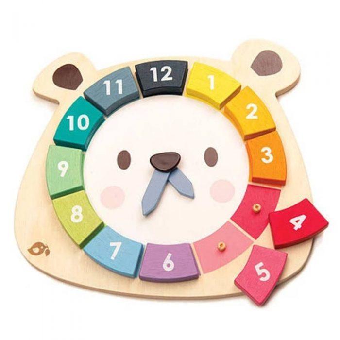 Jouet en bois pour enfant représentant une horloge en forme d'ours composé de blocs de couleurs a placer de la marque Tender Leaf Toys